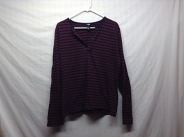 HLM Long Sleeve Navy Blue/Maroon Horizontally Striped Top Sz M