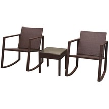 vidaXL Outdoor Rocking Chair Table 3 Piece Poly Rattan Brown Garden Furn... - $184.99