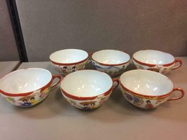 6 Antique Famille Rose Medallion Asian China Teacups w/Red Border. Made ... - $166.65