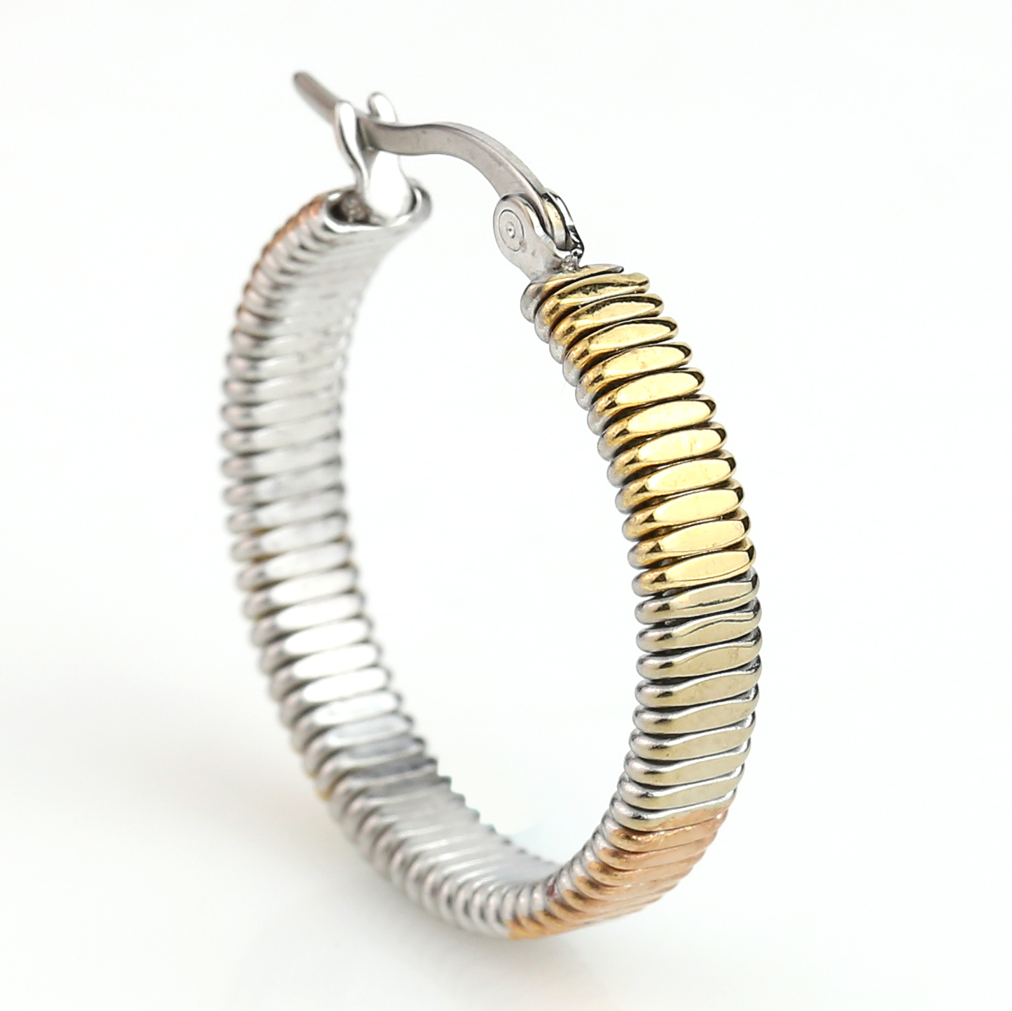 Contemporary Tri-Color Silver, Gold & Rose Tone Hoop Earrings- United Elegance image 2