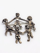 Sterling Silver Signed MEX925 Children in Circle Dancing Pin - $27.00