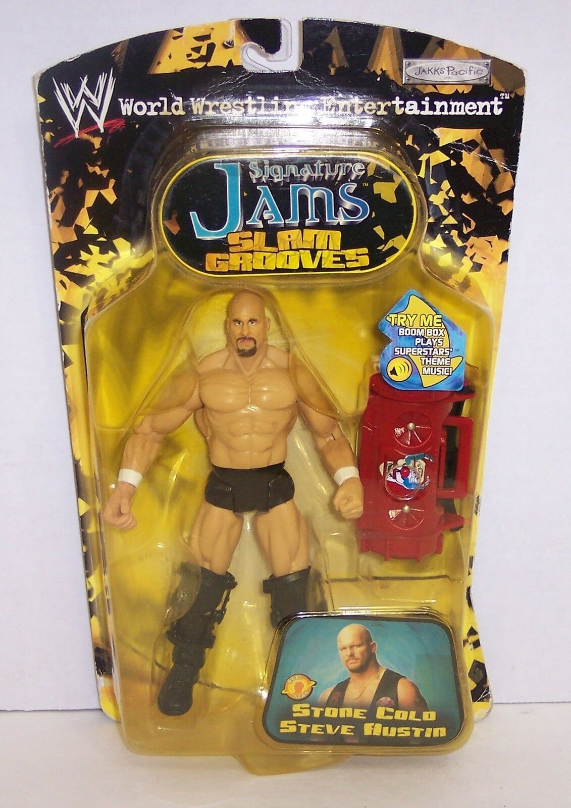 "New! 2002 Jakk's Pacific Signature Jams ""Steve Austin"" Action Figure WWE [974]"