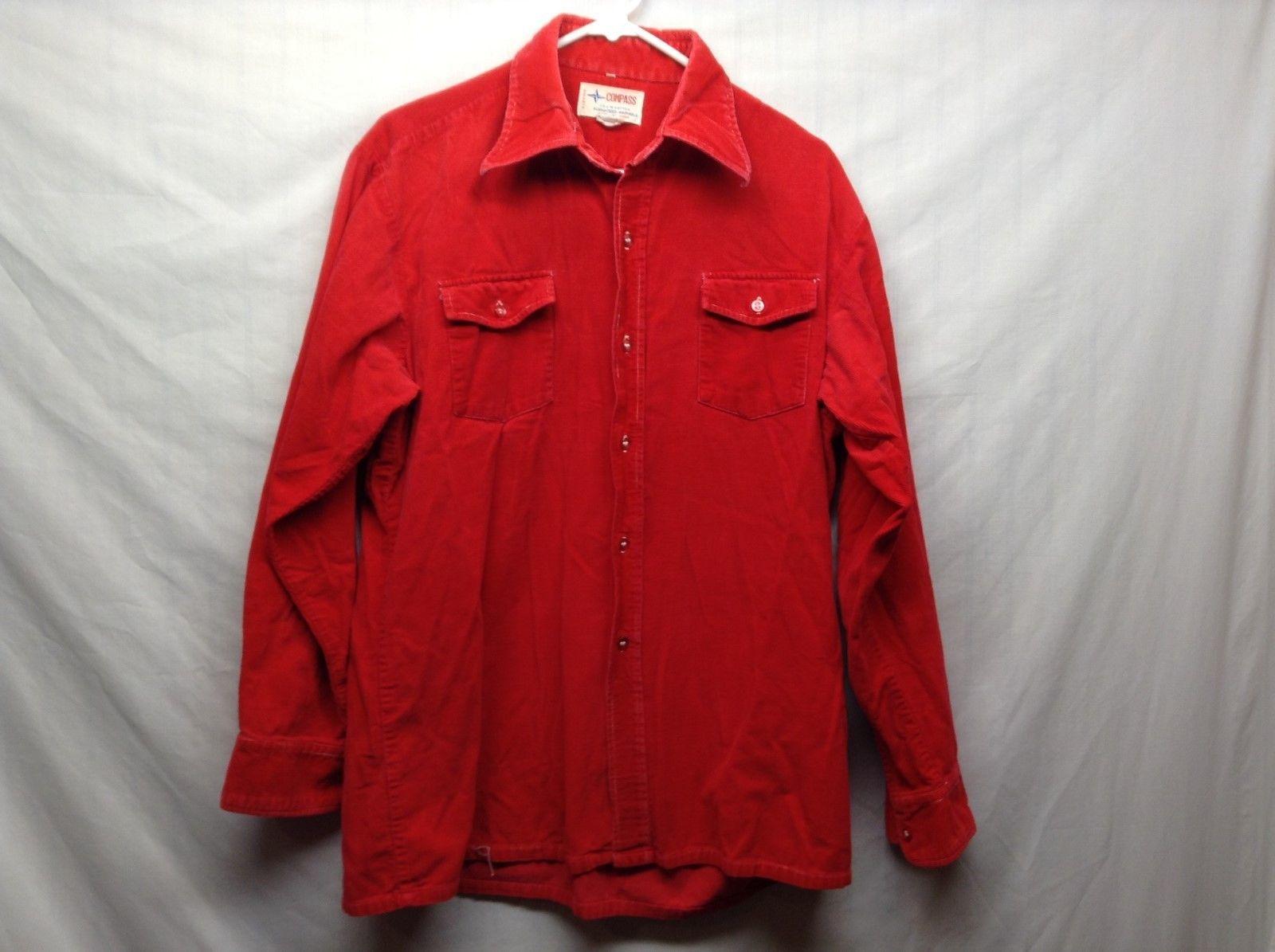 Compass Light Red Cotton Corduroy Longsleeve Button Up Shirt
