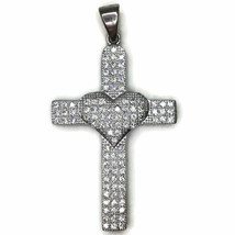 Cubic Zirconia cross with heart pendant with white gold on silver - $55.62
