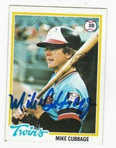 MIKE CUBBAGE AUTOGRAPH CARD 1978 TOPPS MINNESOTA TWINS - $4.48