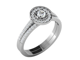 0.5 Cts D/VVS1 Diamond Wedding Round Shape Ring in 14KT White Gold Finish - $110.29