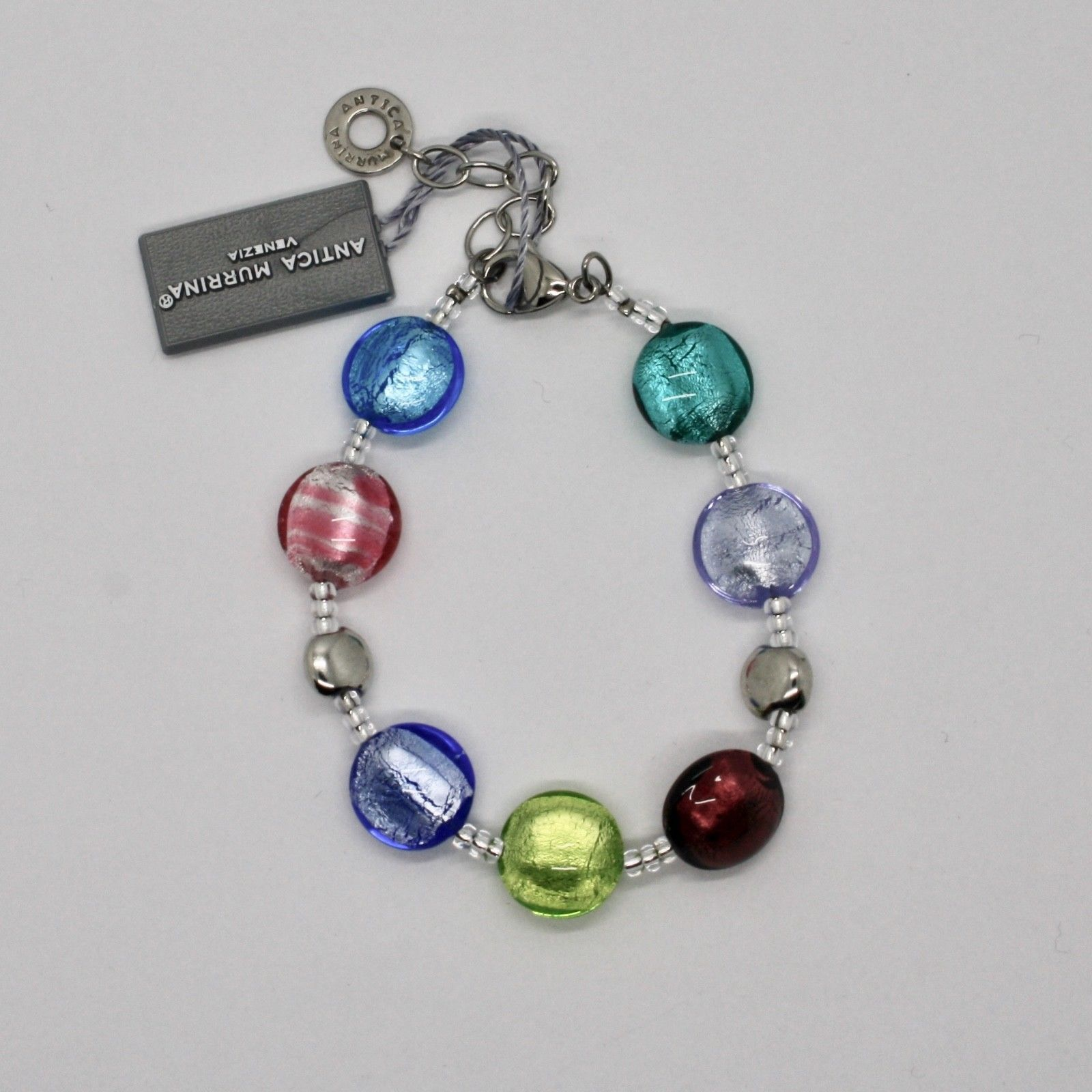 BRACELET ANTICA MURRINA VENEZIA WITH MURANO GLASS MULTICOLOUR SILVER BR297A16