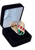 Unisex Southwestern Modernist Sterling Inlaid Multi-Color Gemstone Ring ... - $157.00