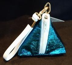 Pyramid Bag/Wristlet/Gift Bag - Blue Metallic sparkle shiny fabric bag
