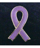 Lavender Awareness Ribbon Lapel Pin Cancer Cause Cap Tac Gold Plated New - $7.81