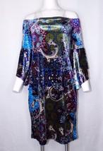 Venus Velvet Dress Large Bell Angel Sleeve Off the Shoulder Medallion Pr... - $36.00