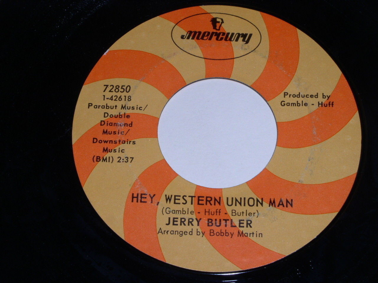 Jerry Butler Hey Western Union Man 45 Rpm Record Vintage Mercury Label