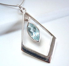 Blue Topaz Marquise Pendant 925 Sterling Silver Faceted Cut Gemstone Sto... - $11.87