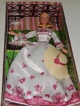 Victorian Tea Blonde Barbie 2002 in box China Set Sun Hat Red White Dress 00729 - $29.69