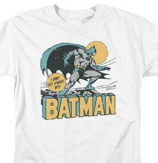Bat Man T-shirt comic book retro 80s cartoon DC Robin white superhero tee DCO756