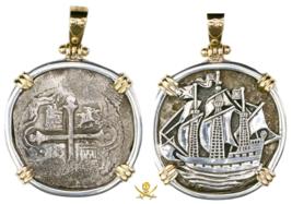 ATOCHA ERA PENDANT PENDANT MEXICO 4 REALES 1621 SHIPWRECK PIRATE GOLD TR... - $1,995.00