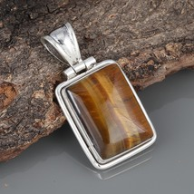 Rectangle Tiger Eye 925 Sterling Silver Oxidized Vintage Style Handmade ... - $22.99