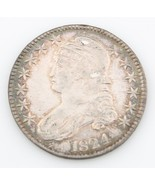 1824 50¢ Capped Bust Half Dollar, AU Condition, Excellent Eye Appeal, Luster! - $395.01
