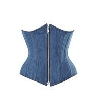 Blue Denim Gothic Steampunk Double Bone Waist Training Bustier Underbust... - $59.39+