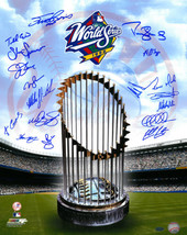 New York Yankees signed 16x20 Photo 1998 WS Champions Logo and Trophy 18... - $158.95