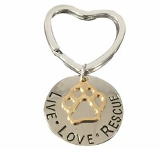 Live Love Rescue Keychain, Pet Rescue Jewelry - Gift for Dog or Cat Owner - $9.99