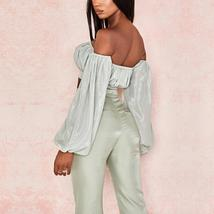Women's Celebrity Brand Designer Long Sleeve Strapless 2 Two Piece Set image 4