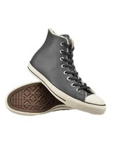Converse Faux Fur Shearling Dark Grey Textured Leather Hightop Shoes Uni... - $68.99