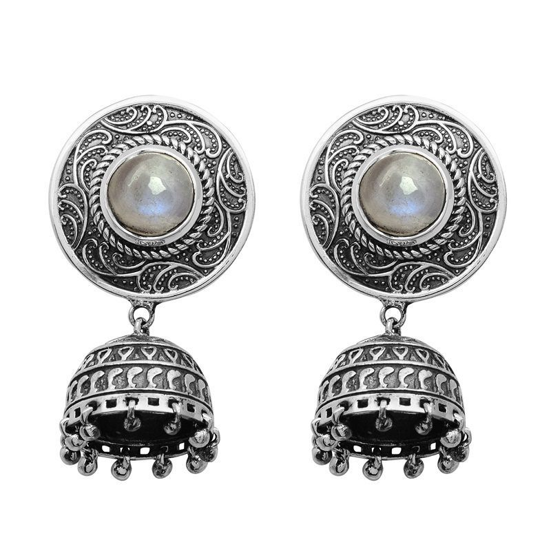 Rainbow Moonstone 925 Sterling Silver Vintage Looking Jhumka Earring SHER0479