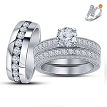 White Gold Plated 925 Silver Trio Engagement Wedding Ring Set Round Sim Diamond - $145.33