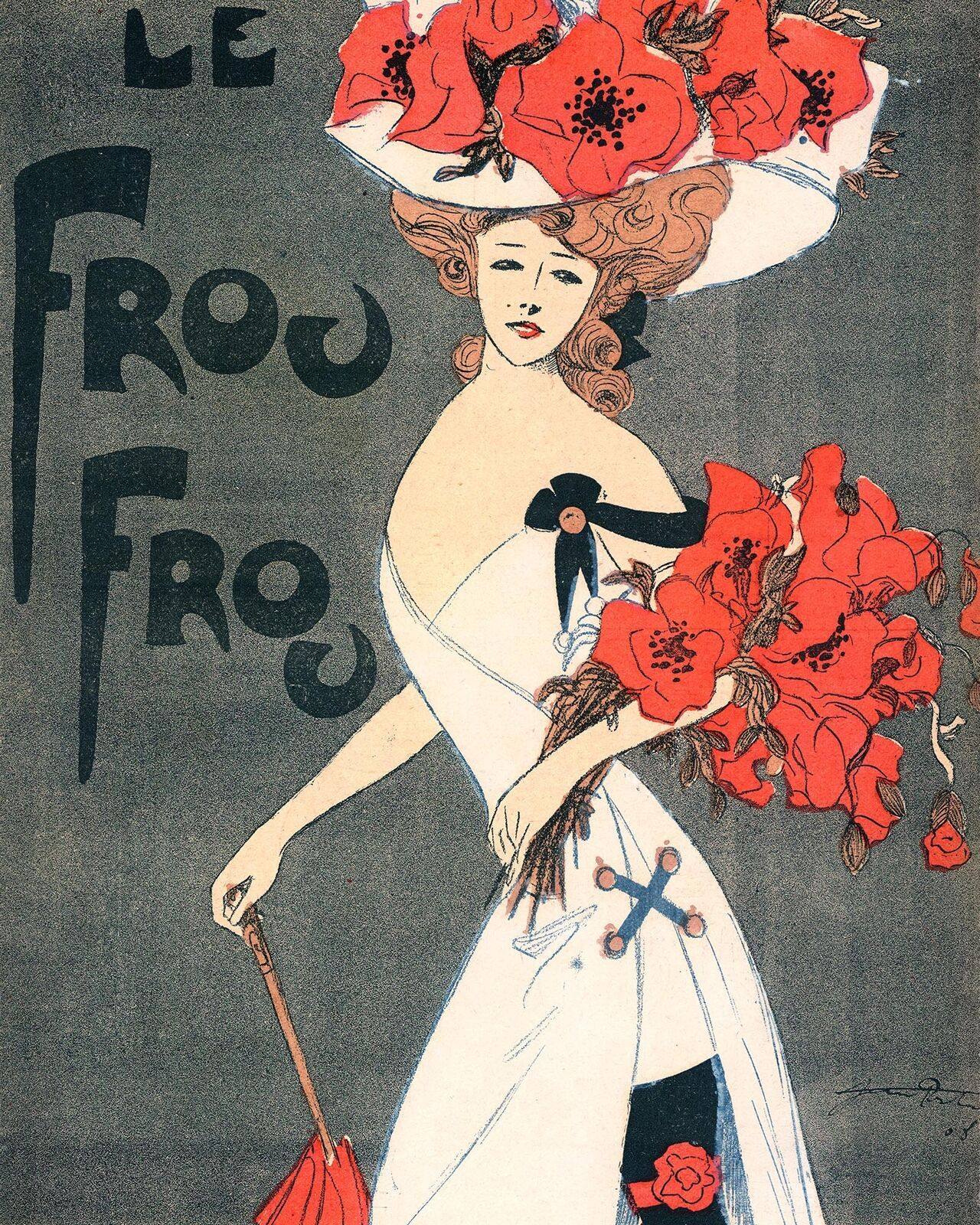 Le Frou Frou: Girl In White And Red w/Umbrella - 1908 - $12.82 - $19.75