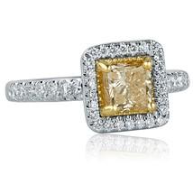 1.52 TCW Princess Cut Yellow Diamond Engagement Ring 14k White Gold - $2,691.81