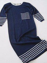 LIZ CLAIBORNE Vintage Dress Small S Knit Long Striped 3/4 Sleeve Navy Blue - $23.10
