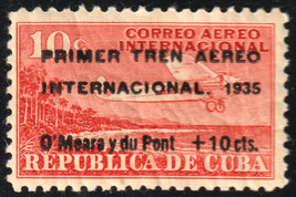 1935 Cuba Stamps Sc C16 Airplane First International AirTrain Surcharged... - $19.99