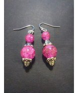 Pink Sparkle and Silver Earrings - $15.00