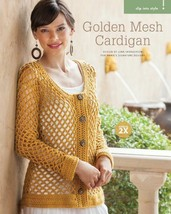 Z613 Crochet PATTERN ONLY Golden Mesh Cardigan Sweater Pattern - $7.50