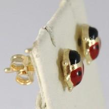 Baby Earrings in Yellow 750 18k Stud, Ladybug Enamel 7 MM LONG image 2