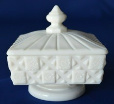 Westmoreland Old Quilt Square Milk Glass Covered Candy Dish - $19.80