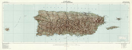 1952 XXL Puerto Rico and Neighboring Islands Map Geological Survey Art Poster - $13.00+