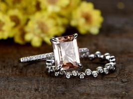 Art Deco1Ct Emerald Cut Peach Morganite Engagement Ring Set 18K White G... - $96.57