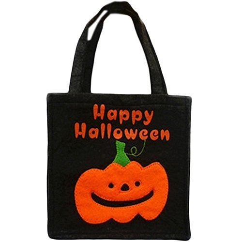 Set of 5 Halloween Kids Candy Bag Trick or Treating Candy Bag(Black Pumpkin)