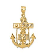 14K Yellow Gold Mariners Anchor Cross Crucifix Charm Pendant 1.42 Inch - $171.57