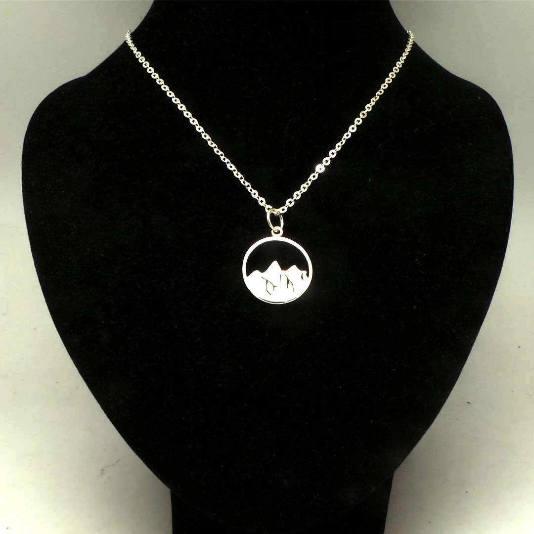 925 Sterling Silver Mountain Necklace  image 5