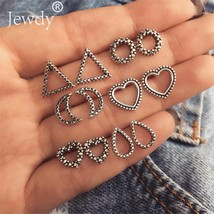 Jewdy® 6 Pairs/Set Heart Moon Triangle Stud Earrings For Women Vintage B... - $3.10