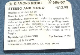 PHONOGRAPH RECORD PLAYER  NEEDLE STYLUS Pfanstiehl 686-D7 for Sanyo MGT-2 42K image 2