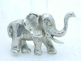 VTG HOBE Silver Tone Clear Rhinestone Eye Elephant Pin Brooch - $94.05