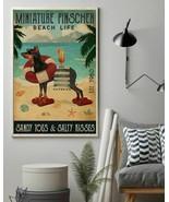 Vintage Beach Cocktail Life Miniature Pinscher, Art Print Poster For Hom... - $25.59+