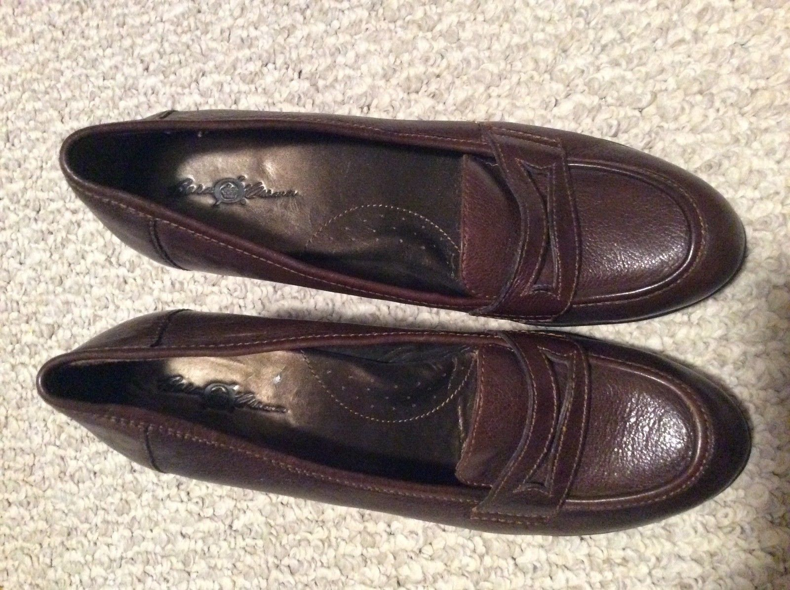 Women's 9 BORN Brn Real Leather Shoes HI HEEL LOAFERS BARELY WORN -NICE! PRETTY!