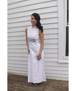 Vtg 60s Lace Formal Gown Long Maxi Sleeveless Dress XS S Full Prom White - $29.99