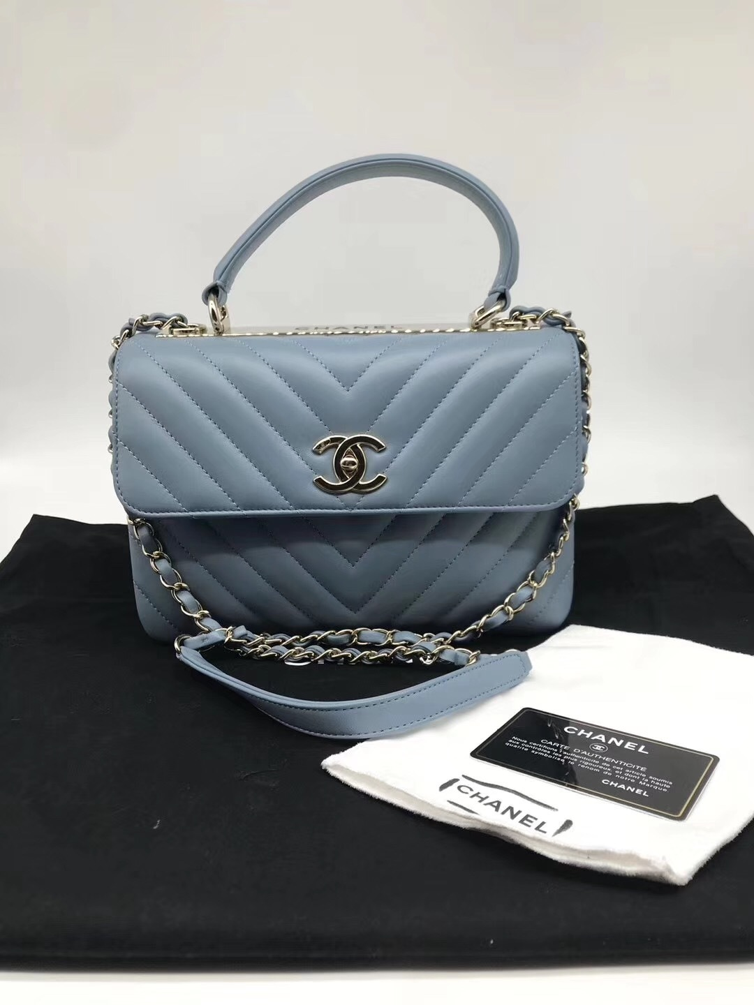 AUTHENTIC CHANEL BLUE CHEVRON LAMBSKIN TRENDY CC 2 WAY HANDLE FLAP BAG GHW
