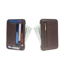 ANSSOW Slim Genuine Leather Credit Card Holder Front Pocket Wallet with RFID Blo - $24.54